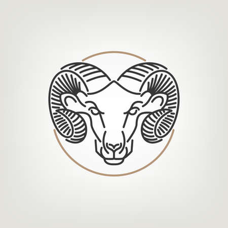 Illustration for The Ram Head Outline  Icon Design. The ram head  icon design in mono line style on the light background. - Royalty Free Image