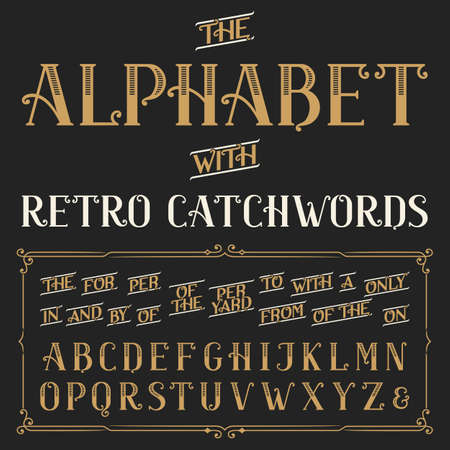 Ilustración de Retro alphabet vector font with catchwords. Ornate letters and catchwords the, for, a, from, with, by etc. Stock vector typography for labels, headlines, posters etc. - Imagen libre de derechos