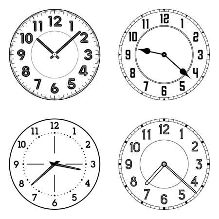 Illustration pour The set of different clock faces. Editable vector clock faces. Round shape. Easily remove and replace hands and design. - image libre de droit