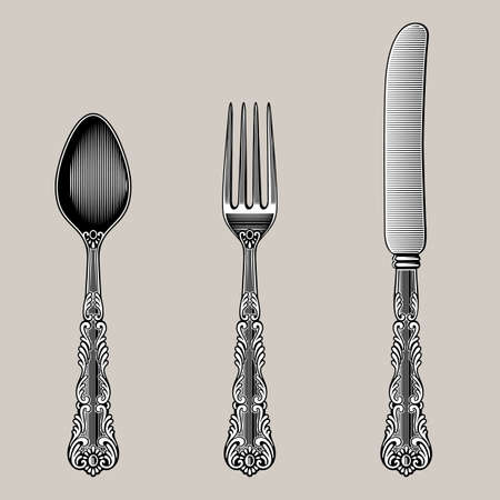 Photo for Antique Cutlery. Vector spoon, fork and knife in vintage style from the Victorian period. Works well as a wall stickers. - Royalty Free Image