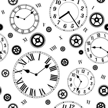 Photo pour Clocks and gears vector seamless pattern. Black and white colors. - image libre de droit