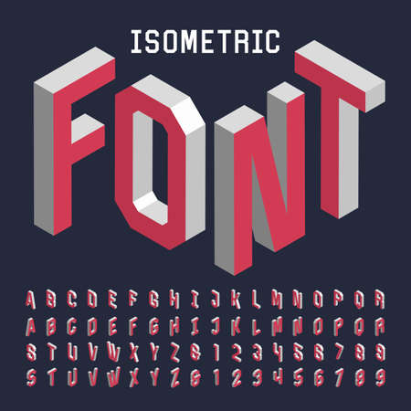 Foto per 3d isometric alphabet vector font. Isometric letters, numbers and symbols. Three-Dimensional stock vector typography for headlines, posters etc. - Immagine Royalty Free