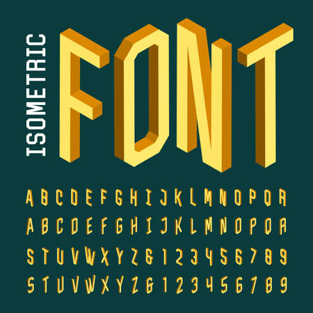 Illustration pour Isometric alphabet vector font. 3D isometric letters, numbers and symbols. Three-Dimensional stock vector typeset for headlines, posters etc. - image libre de droit
