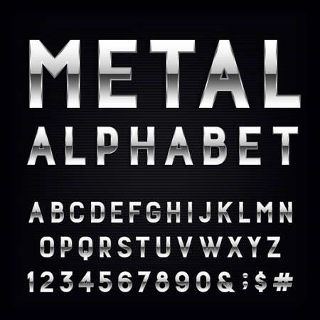 Illustration for Metal Alphabet Vector Font. Type letters, numbers and punctuation marks. Chrome effect letters on dark background. Vector typeset for headlines, posters etc. - Royalty Free Image