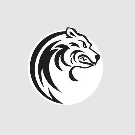 Ilustración de Bear head logo or icon in black and white. Vector illustration. - Imagen libre de derechos