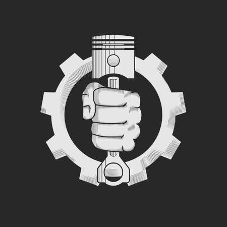Illustration pour Car or bike repair shop logo template concept. Car engine pistons in the hand and gear combined in vector sign. Vector illustration. - image libre de droit