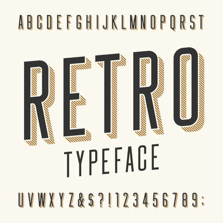Illustration for Retro typeface. Letters, numbers and symbols. Vintage alphabet vector font for labels, titles, posters etc. - Royalty Free Image