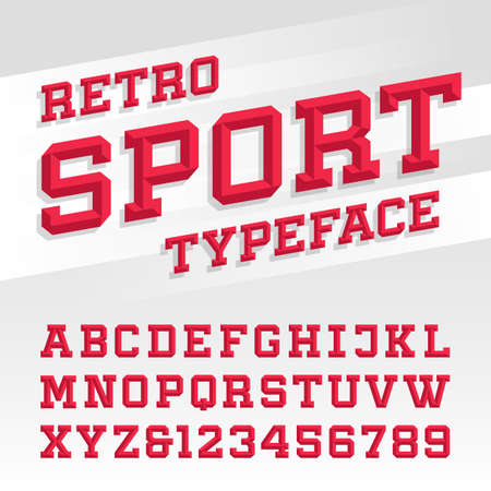 Ilustración de Beveled alphabet vector font. Retro sport style typeface for labels, titles, posters or sportswear transfers. Type letters, numbers and symbols on the bright background. - Imagen libre de derechos