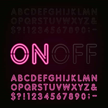 Ilustración de Neon Light Alphabet Font. Two different styles. Lights on or off. Type letters, numbers and symbols. Red neon tube letters on a dark background. typeface for animation, labels, titles, posters etc. - Imagen libre de derechos