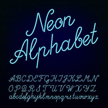 Illustration pour Neon tube alphabet font. Script type letters on a dark background. typeface for labels, titles, posters etc. - image libre de droit