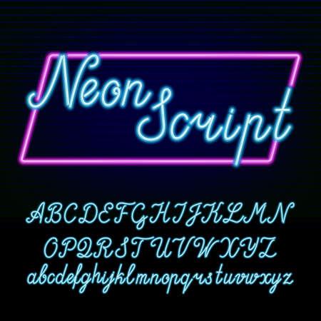 Ilustración de Neon tube alphabet font. Hand drawn script type letters and numbers on a dark background. - Imagen libre de derechos