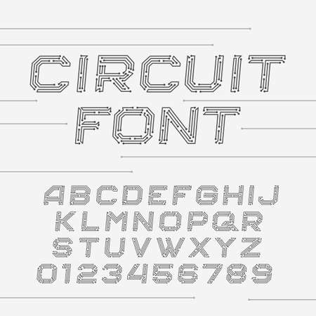 Illustration pour Circuit board font. Digital hi-tech style oblique letters and numbers. - image libre de droit