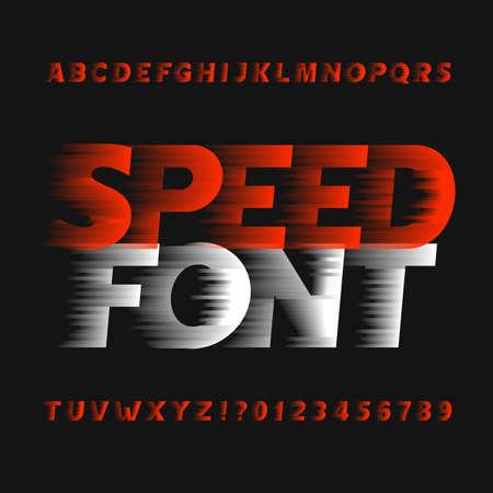Ilustración de Speed ??alphabet font. Wind effect type letters and numbers on a dark background. Vector typeface for your design. - Imagen libre de derechos