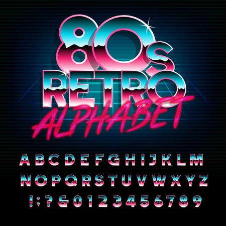 Ilustración de 80's retro alphabet font. Metallic effect type letters and numbers. Vector typeface for your design. - Imagen libre de derechos