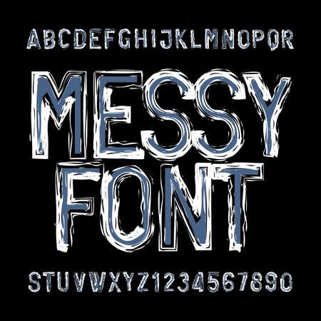 Ilustración de Messy alphabet font. Distressed type letters and numbers. Vector typeface for your design. - Imagen libre de derechos