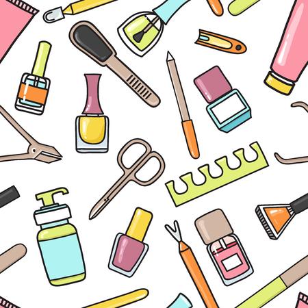 Ilustración de Vector seamless pattern of manicure and pedicure doodle equipment. Nail art. Can be used for beauty salon decoration, background; design, promotion - Imagen libre de derechos