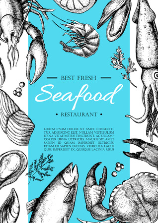 Ilustración de Vector vintage seafood restaurant flyer. Hand drawn banner. Great for meny, banner, flyer, card, seafood business promote. - Imagen libre de derechos