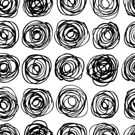 Ilustración de Vector seamless trendy modern circle pattern. Monochrome messy doodle illustration.  Hand drawn artistic pattern. Great for web, print, home decor, textile, wrapping paper, wallpaper, invitation card - Imagen libre de derechos