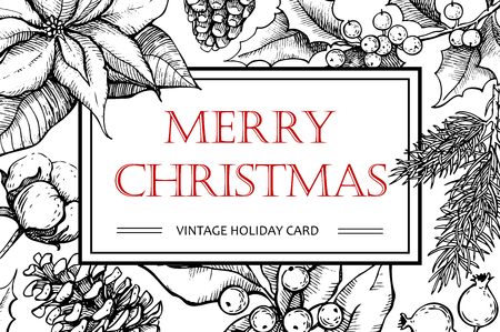 Illustration pour Vector Merry Christmas hand drawn vintage illustration for xmas design. Great for greeting and invitation cards, banners, postcards - image libre de droit