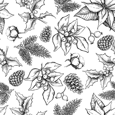 Illustration pour Vector Christmas and New Year hand drawn vintage pattern for holiday design. Great for greeting and invitation cards, banners, postcards, gift wrapping paper - image libre de droit