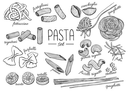 Illustrazione per Vector hand drawn pasta set. Vintage line art illustration. - Immagini Royalty Free