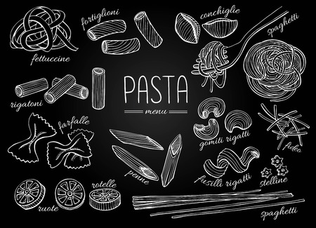 Ilustración de Vector hand drawn pasta menu. Vintage chalkboard line art illustration. - Imagen libre de derechos