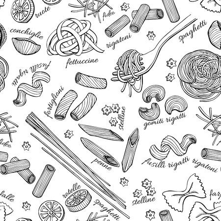 Ilustración de Vector hand drawn pasta pattern. Vintage line art illustration. - Imagen libre de derechos