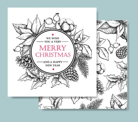 Illustration for Vector Merry Christmas and Happy New Year hand drawn vintage card template. Great for greeting and invitation cards, banners, postcards - Royalty Free Image