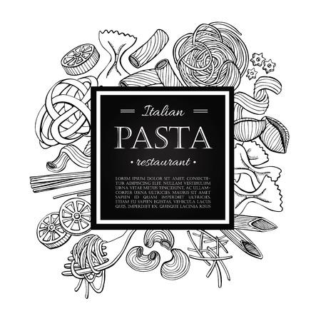 Ilustración de Vector vintage italian pasta restaurant illustration. Hand drawn banner. Great for menu, banner, flyer, card, business promote. - Imagen libre de derechos