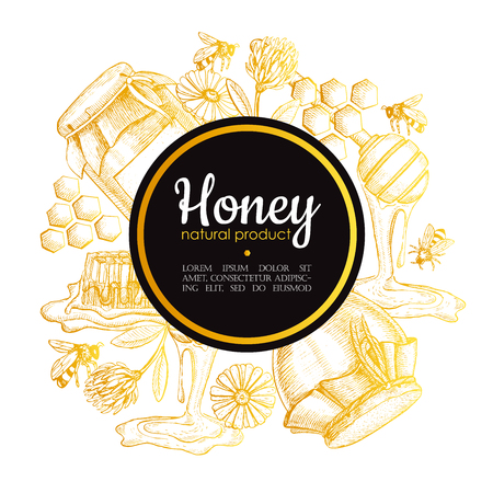 Illustration pour Vector hand drawn honey frame. Detailed gold engraved honey illustrations. Graphic honey, honeycomb, bee, glass jar, flowers, pot. Great for label, banner, poster, card. - image libre de droit