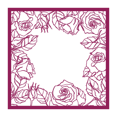 Illustration pour Laser cut vector rose square frame Cutout pattern silhouette with flower and leaves Die cut paper element for wedding invitations, save the date, greeting card. Square botanical cutting template panel - image libre de droit