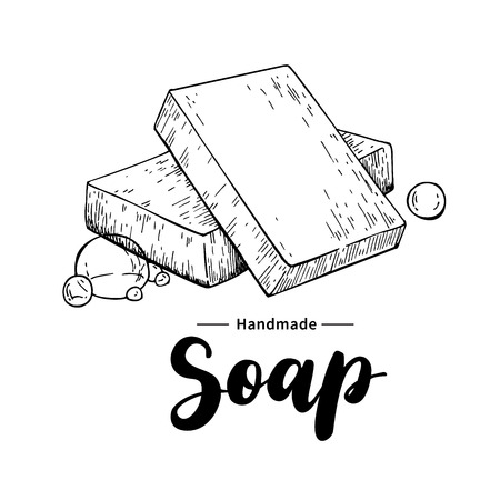 Illustration for Handmade natural soap. Vector hand drawn illustration of organic cosmetic with lettering. Great for label, logo, banner, packaging, spa and body care promote - Royalty Free Image