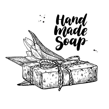 Illustration for Handmade natural soap. Vector hand drawn illustration of organic cosmetic with lettering and tea tree flower. Great for label, logo, banner, packaging, spa and body care promote - Royalty Free Image