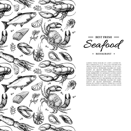 Illustration pour Seafood hand drawn vector framed illustration. Crab, lobster, shrimp, oyster, mussel, caviar and squid. - image libre de droit
