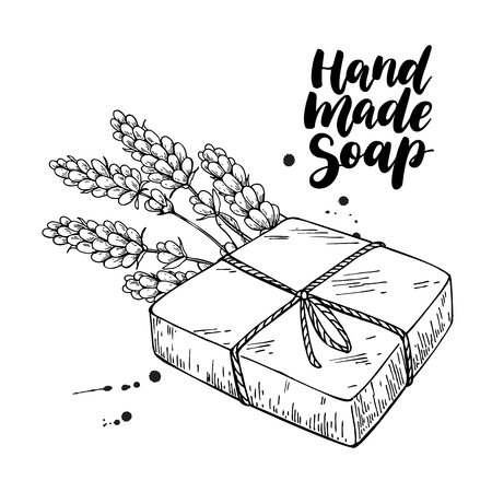 Illustration for Handmade natural soap. Vector hand drawn illustration of organic cosmetic with lavender medical flowers. Herbal bodycare. Great for label, logo, banner, packaging, spa and body care promote - Royalty Free Image