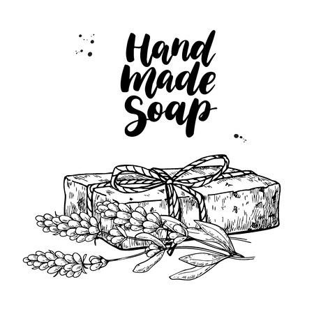 Illustration for Handmade natural soap. Vector hand drawn illustration of organic cosmetic with lavender medical flowers. - Royalty Free Image
