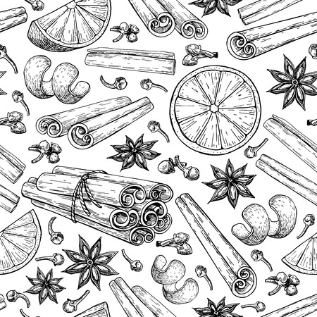Illustration for Mulled wine ingredients pattern. - Royalty Free Image