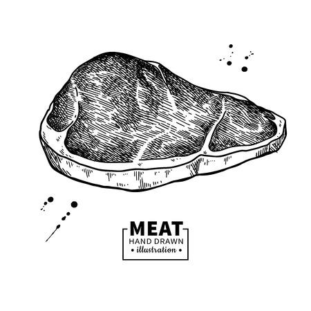 Illustration pour Sirloin steak vector drawing. Red meat hand drawn sketch. Engraved food illustration. - image libre de droit