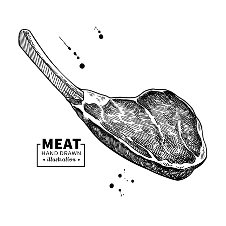 Illustration pour Prime rib vector drawing. Beef, pork or lamb Red meat hand drawn sketch. - image libre de droit