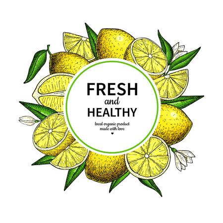 Ilustración de Lemon frame vector drawing. Citrus fruit circle label template. - Imagen libre de derechos
