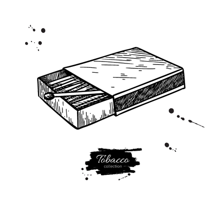 Illustration for Matchbox vector drawing. Hand drawn matches box illustration. Isolated sketch object. Vintage icon. Great for shop label, emblem, sign, packaging - Royalty Free Image