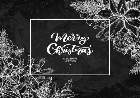 Illustration pour Christmas wreath frame. Vector hand drawn illustration Holly, mi - image libre de droit