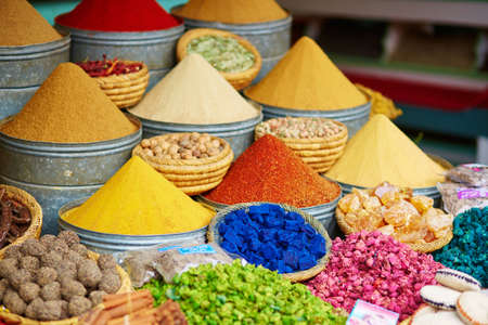 Photo for Selection of spices on a traditional Moroccan market (souk) in Marrakech, Morocco - Royalty Free Image
