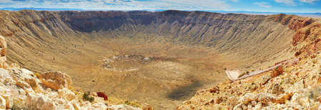 Photo pour Panorama of Meteor crater also known as Barringer crater in Arizona, United States of America - image libre de droit