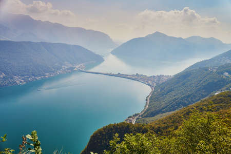 Photo for Scenic view to the lake Lugano from mountain San Salvatore in Lugano, canton of Ticino, Switzerland - Royalty Free Image