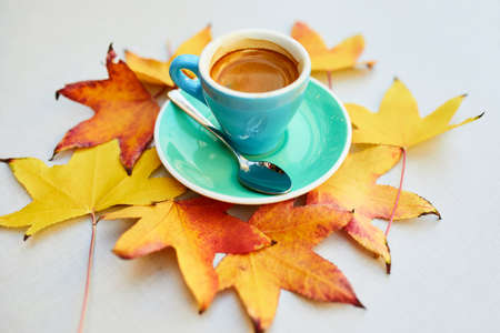 Photo pour Cup of fresh hot espresso coffee and autumn leaves on table of traditional Parisian outdoor cafe in Paris, France - image libre de droit