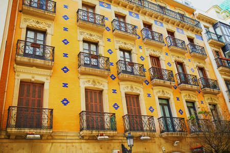 Foto per Beautiful facades of old town buildings in San Sebastian (Donostia), Spain - Immagine Royalty Free