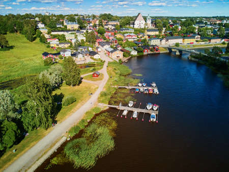 Photo for Scenic aerial view of historical town of Porvoo in Finland - Royalty Free Image
