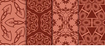 Illustrazione per set of Decorative fashion background, geometric floral seamless pattern. creative ornament. brown color. for design fabric print, textile, wallpaper - Immagini Royalty Free