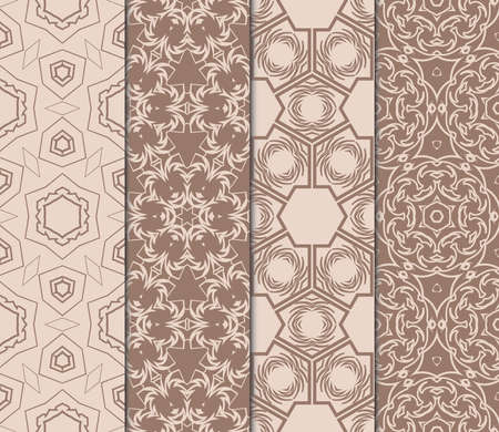set of fashion floral pattern of geometric ornament. Seamless vector illustration. elements for fabric, scrapbook, invitation cards. beige color